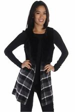DEALZONE Open Front Faux Fur Top Vest S L Small Large Women Gray Casual USA