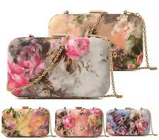Ladies Clutch Box Floral Satin Small Chain Evening Bridal Occasion Clutch Bag