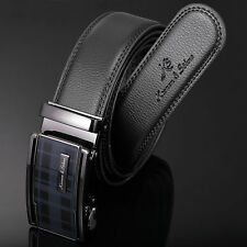 Mens KS Genuine Black Leather Automatic Steel Buckle Luxury Waist Strap Belts