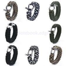 9'' Paracord 550 Survival Bracelet w/ Stainless Steel Shackle Buckle Camping