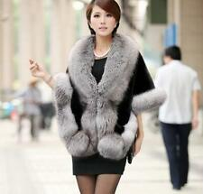 Lady Winter Leather Faux grass mink  fur poncho cape shawl vest fur coat