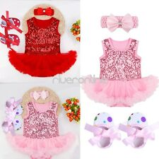 Cute Infant Girl Baby Romper Bodysuit Tutu Dress Shoes Outfits Clothes Set 3-18M