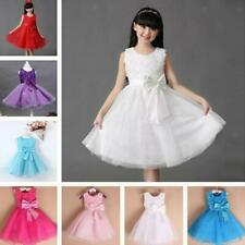Cute Sleeveless Floral Bowknot Design Self Tie Ball Gown Dress For Girls Party