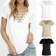 Sexy Women V-Neck Hot Summer Casual Loose Bandage Hollow Out Tops Blouse T Shirt