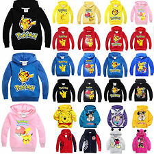 Kids Pikachu Sweater Hooded Hoodies Sweatshirt Pullover Boys Girls Cartoon Tops