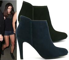 Ladies Womens Suede Pull On Mid High Heels Ankle Boots Evening Shoes