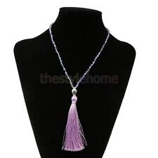 Beads Chain Tassel Bohemian Style Necklaces Lucky Buddha Head Fringed Pendants