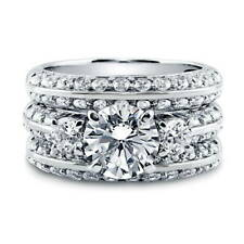 BERRICLE Sterling Silver Round CZ 3-Stone Engagement Ring Set 4.34 Carat