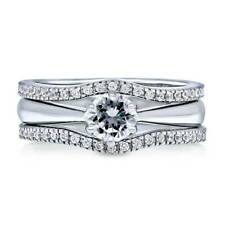 BERRICLE Sterling Silver Round CZ Solitaire Engagement Ring Set 0.74 Carat