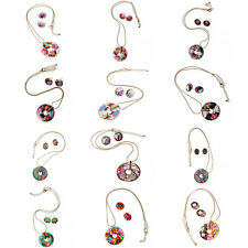 Round Coin Charm Pendant Golden Necklace Enamel Flower Earrings Jewelry Sets