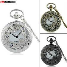New Gear Quartz Vintage Pocket Watch Pendant Retro Necklace Chain Hollow Gift