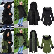 OVERSIZE KIDS BOYS GIRLS FAUX FUR HOODED DOVETAIL PARKA JACKET MILITARY COAT