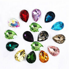 10pcs Teardrop Pendant Glass Crystal Loose Spacer Beads Jewelry Making Findings