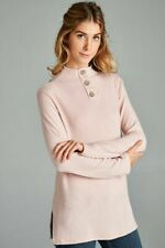 Solid Long Sleeve Mock Neck Front Buttons Top with Side Slits Casual Cute S M L
