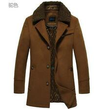 Men wool fur collar long jacket coat outwear trench parkas overcoat padded Warm