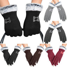 Fashion Charm Womens Touch Screen Warm Gloves Winter Bowknot Lady Mittens MD