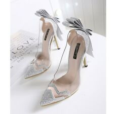Bowknot Pumps Pointed Toe Rhinestones Chic Stilettos High Heel Women Party Shoes