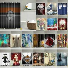 "71"" Waterproof Fabric Curtain Bathroom Shower Divider Scarf with 12 Hooks Modern"