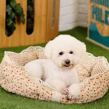 Pet Dog Cat Bed Cushion Round Pet Cat Dog Floral Cozy Soft Lace Bed Kennel House