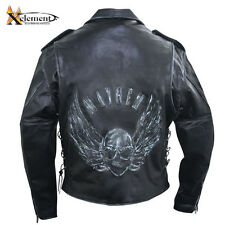 Mens Premium Black Distressed-Leather Jacket with Embossed Flying Skull
