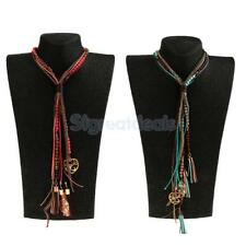 Boho Gypsy Long Beaded Rope Chain Leather Tassel Necklace Women Girls-Blue/Red