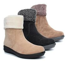 WOMENS LADIES BLACK FAUX FUR COLLAR LOW WEDGE HEEL FLAT WINTER ANKLE BOOTS SHOES
