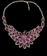 Charmming Crystal Rhinestone Peacock Necklace Earrings Jewelry Set
