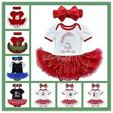 Newborn Baby Girl First Christmas Romper Costume Tutu Dress Fancy Outfit Clothes