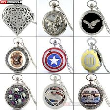 Steampunk Silver Pocket Watch Quartz Pendant Necklace Chain Women mens Gift Hot