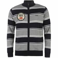 Lee Cooper Mens Knitted Zip Top Sweater Cardigan Ribbed Pattern Funnel Neck