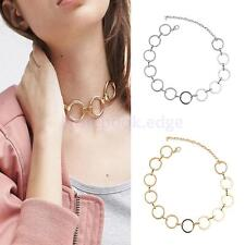 Generous Silver/Gold Alloy O Shaped Linked Bib Collar Necklace Accessory Gift