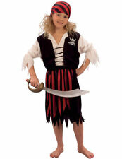 Child Striped Pirate Girl Fancy Dress Outfit Kids Book Day Week Costume