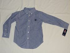 Boys Chaps Dress Shirt Size 4 Blue Plaid Button Down NWT Pictures Christmas