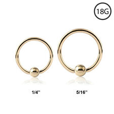 "14KT Gold Plated Nose Ring Hoop Captive Bead 5/16"" or 1/4""CBR 18 Gauge 18G"