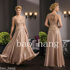 Plus Size Mother of Bride Long Dress Prom Evening Party Gowns V Neck Lace Custom