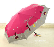 Hot Auto Open Cartoon Animal Print Folding Sun Rain Umbrella compact umbrella
