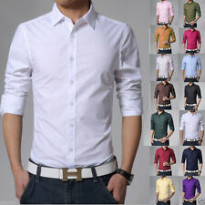 Men Fashion Luxury Shirts Casual Formal Button Long Sleeve Slim Fit Shirts Tops