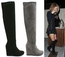 WOMENS LADIES WEDGE HEEL OVER THE KNEE THIGH HIGH FASHION SHOES LONG BOOTS SIZES