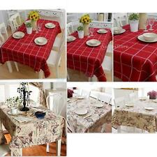 Vintage Tablecloth British Style Square/Rectangular Floral/Plaid Table Cover