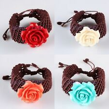 Bracelet Coral Floral Flower Rose Braided Adjustable Bangle Wristband Jewelry