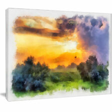 Design Art 'Beautiful Landscape Watercolor' Painting Print on Wrapped Canvas