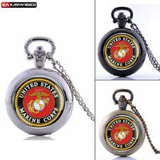 Antique Quartz Marine Corps New Pendant Pocket Watch Vintage Chain Necklace Gift