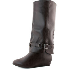 Women's Faux Casual Comfortable Faux Leather Wedge Mid Calf Boot Buckle Decor
