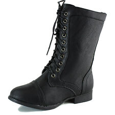 Women's Casual Lace Up Military Combat Riding Mid Ankle Fashion Boots