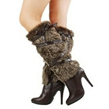 Women's Knee High Strapped Faux Fur Strap Wrapped High Heel Platform Boot