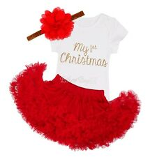 US My First Christmas Infant Baby Girl Santa Romper Sequined Tutu Dress Outfits