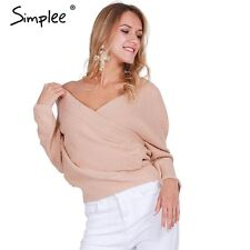 Simplee V neck sweater women Autumn winter loose long batwing sleeve sweater top