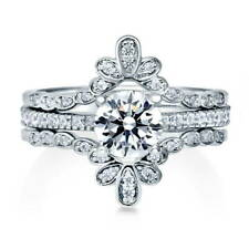 BERRICLE Sterling Silver Round CZ Solitaire Engagement Ring Set 1.28 Carat