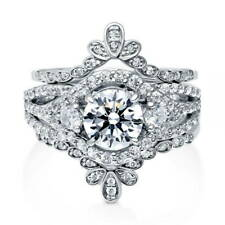 BERRICLE Sterling Silver Round CZ 3-Stone Engagement Ring Set 2.23 Carat
