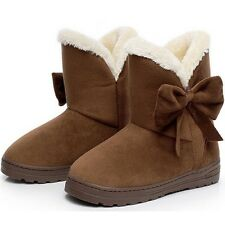 NEW Women Boots Warm Winter Snow Boots Suede Ankle Boots Bowtie Thick Plush Insi